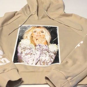 EUC Britney Spears Cropped Hoodie Tan Medium